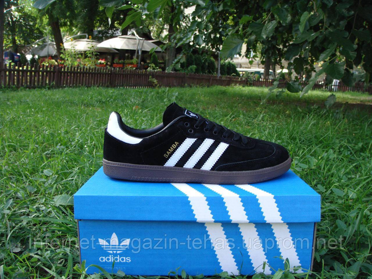 fd6e7cab788a Стильные Новые Кроссовки Adidas Samba. (адидас Самба) Черные с Белыми  Полосками — в Категории
