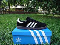 Стильные новые кроссовки Adidas Samba. (адидас самба) черные с белыми полосками