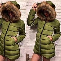 Пальто женское из плащевки на синтепоне с искусственным мехом P5421