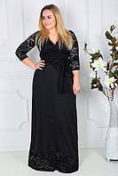 Длинное нарядное женское платье большого размера гипюровое