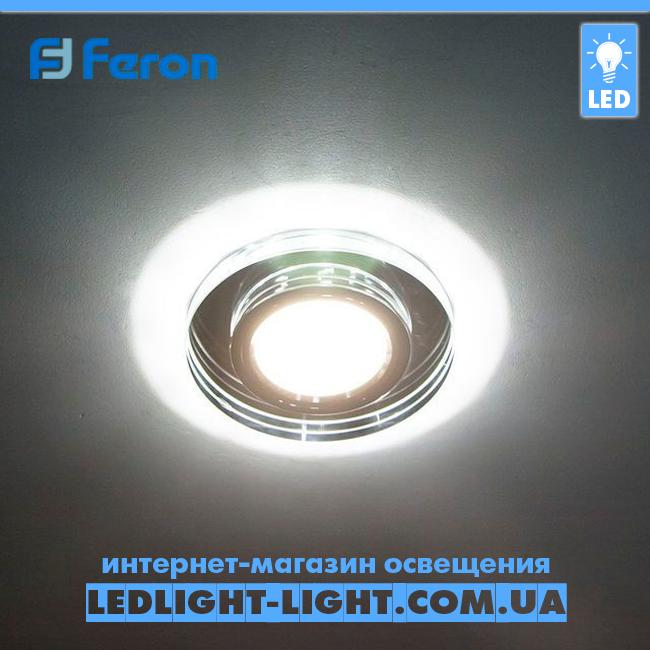 Врізний точковий світлодіодний світильник Feron 8060 з LED підсвічуванням