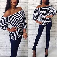 Женская легкая блуза в полоску