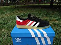 Новые спортивные кроссовки от Adidas Spezial. (адидас мужские кроссовки) черно-красные с белыми полосками