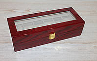 """Шкатулка для часов """"Женева"""" деревянная на 6 отделений"""