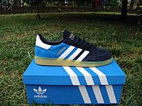 Стильные новые кроссовки Adidas Spezial. (адидас мужские кроссовки) черно-синие с белыми полосками