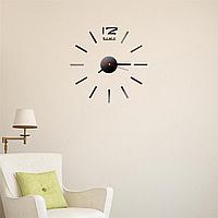 Часы интерьерные на стену с палочками (диаметр 0,35 - 0,5 м) черные глянцевые [Пластик]