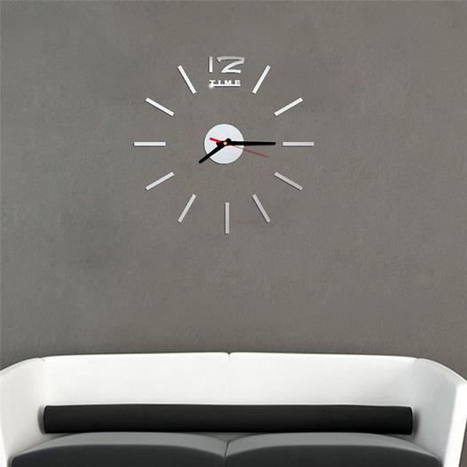 Часы интерьерные на стену с палочками (диаметр 0,35 - 0,5 м) серебристые [Пластик]