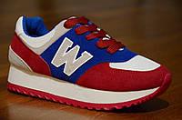 Кроссовки типа New Balance нью беленс женские, подростковые на толстой подошве  красные с синим