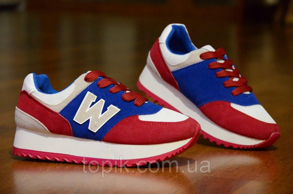 Кроссовки    женские, подростковые  красные с синим (Код: 305)