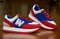 Кроссовки    женские, подростковые  красные с синим (Код: 305), фото 1