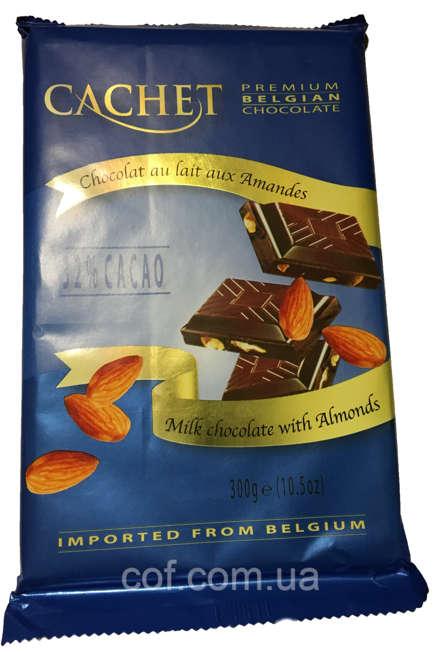 Шоколад молочный Cachet с миндалем 300г (Бельгия)