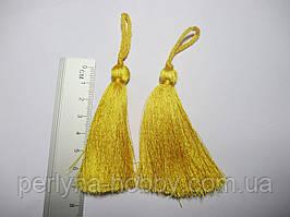 Китиця декоративна текстильна мала шовкова, 7 см насичений жовтий 1 шт.