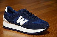 Кроссовки типа New Balance женские, подростковые, мужские на толстой подошве темно синие. Только 36р!, фото 1