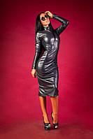Женское шикарное платье из эко-кожи Lucky \ граффит, фото 1