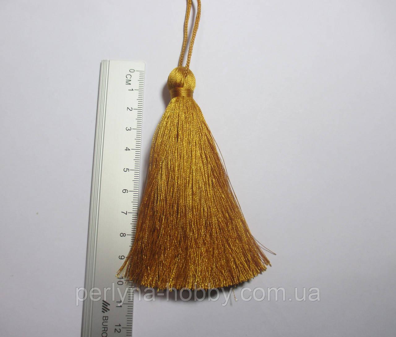 Китиця декоративна велика 10-11 см, золотистий темний 0155, 1 шт.