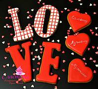Подарочный набор на День Влюблённых - расписной медовый имбирный пряник , фото 1