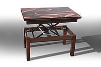 "Стол-трансформер""Флай"" (стекло) (каркас - тополь/столешница - ДСП)слож. 92х60х52 см.разл. 121х92х75 см орех"