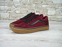 Кеды в стиле Vans Old Skool унисекс замша бордовые, фото 1