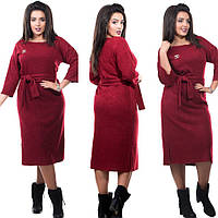8f4a6e53a58 Ангоровое платье миди с рукавами 3 4 и разрезами по бокам