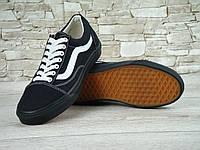 Мужские кеды в стиле Vans Old Skool, черные с белым, фото 1