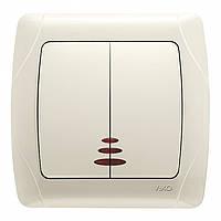 Выключатель двухклавишный с подсветкой кремовый VIKO CARMEN 90562050