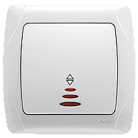 Переключатель одноклавишный проходной с подсветкой белый VIKO CARMEN 90561063