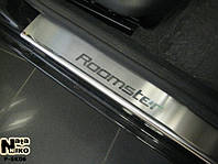 Skoda Roomster 2007+ гг. Накладки на пороги Натанико (4 шт, нерж.) Стандарт - лента Lohmann, 0.5мм