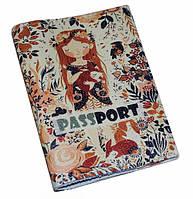 Кожаная женская обложка для паспорта -Любовь к природе-