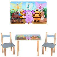 Деревянный столик со стульчиками F063 лунтик