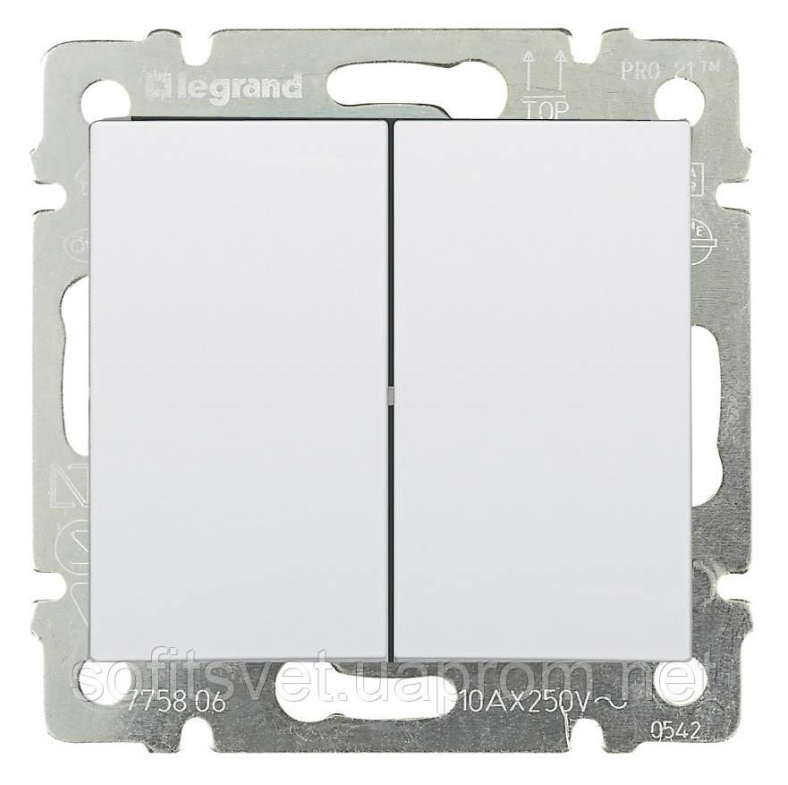 Переключатель на два направления двухклавишный Valena 10 AX 250 В~ белый Legrand 774408