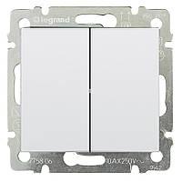 Выключатель двухклавишный Valena 10 AX 250 В~ белый Legrand 774405, фото 1