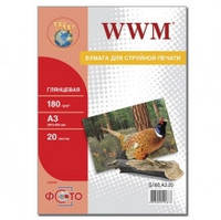 Фотобумага WWM, глянцевая 180 г, A3, 20л