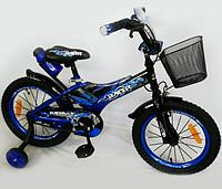 """Детский двухколесный велосипед """"Racer-16"""" blue (в комплектацию входят: передняя корзина, питьевая бутылка, переднее и заднее крылья, вспомогательные"""
