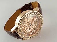 Женские часы Цветок на коричневом ремешке, фото 1