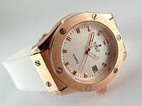 Женкские часы HUBLOT - Big Bang каучуковый белый ремешок, цвет золото, японский кварцевый механизм