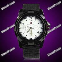 Ультрасовременные армейские часы Gemius Swiss army черные с белым циферблатом