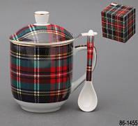 Кружка заварочная керамическая Шотландка с фильтром и ложкой 330 мл 86-1455