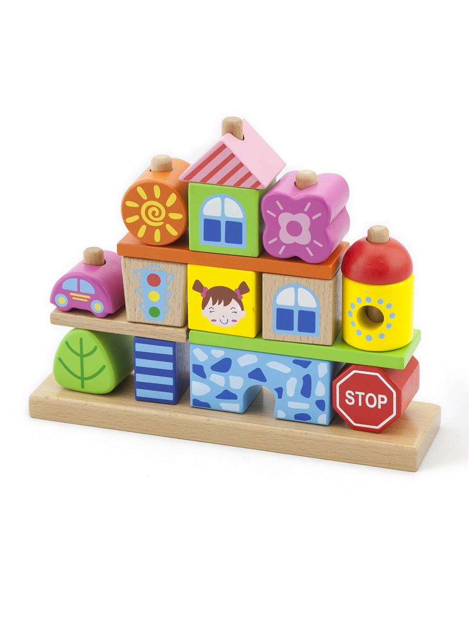Развивающие и обучающие игрушки «Viga Toys» (50043VG) набор кубиков Город