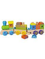 Развивающие и обучающие игрушки «Viga Toys» (50572B) деревянный конструктор Поезд
