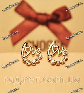 Серьги-гвоздики Love, фото 2