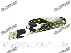 Кабель USB - micro USB ткань, черного цвета, фото 3