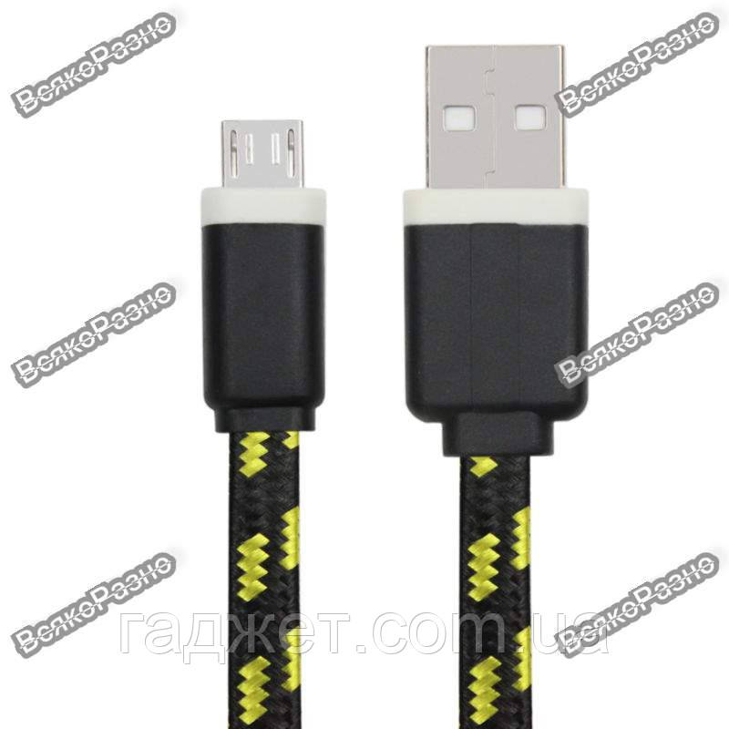 Кабель USB - micro USB ткань, черного цвета