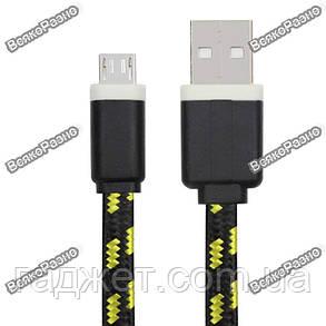 Кабель USB - micro USB ткань, черного цвета, фото 2