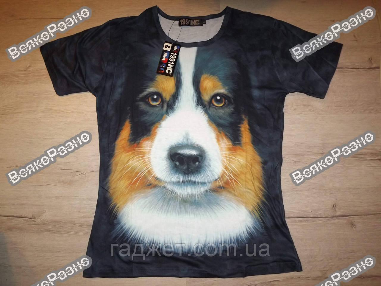 Мужская футболка The Mountain с 3D изображением собаки. Размер XL