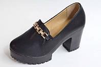 Подростковые туфли на удобном небольшом каблуке эко кожа  для полной стопы