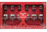 """Набор 12 предметный золото с рисунком GE05-1689/837 """"Мускат""""(бокалы и стопки)."""