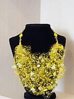 Романтический подарок женщине - воздушное желтое колье -авторская работа  , фото 1