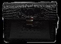 Маленькая прямоугольная женская сумка из натуральной кожи черного цвета (MNW-093211)