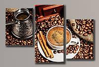 """Модульная картина на холсте из 3-х частей """"Кофе"""""""