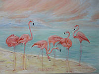 "Картина ""Розовые фламинго"""